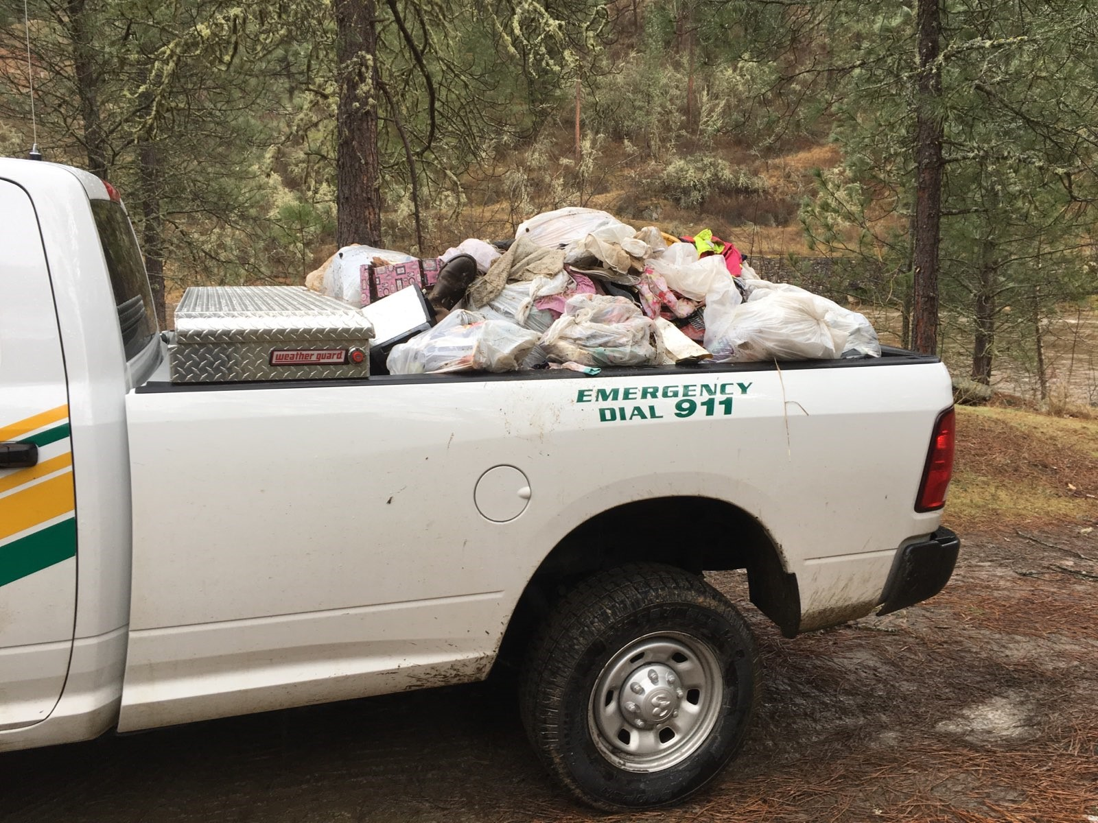 One of the pick-up truck loads of litter removed from a dispersed campsite.