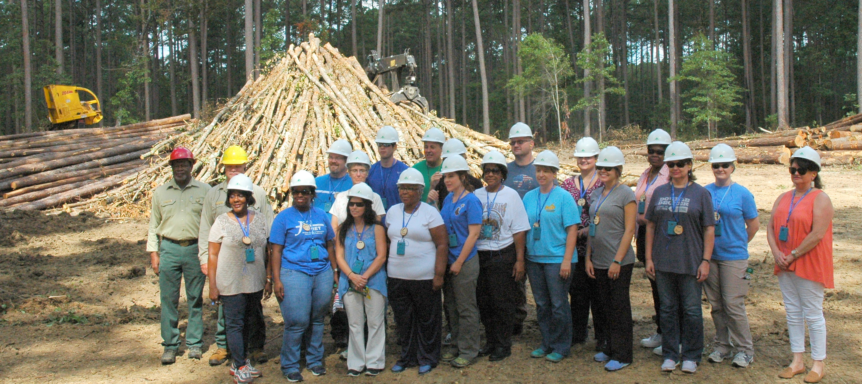 Teachers standing in front of logged wood pile and logging equipment