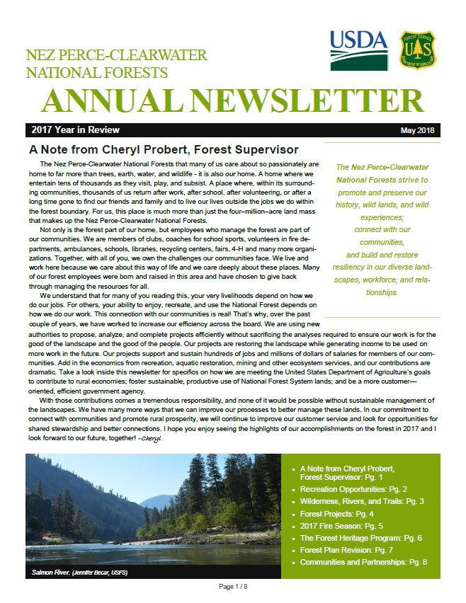 The front page of the 2017 Nez Perce-Clearwater National Forests Year in Review.