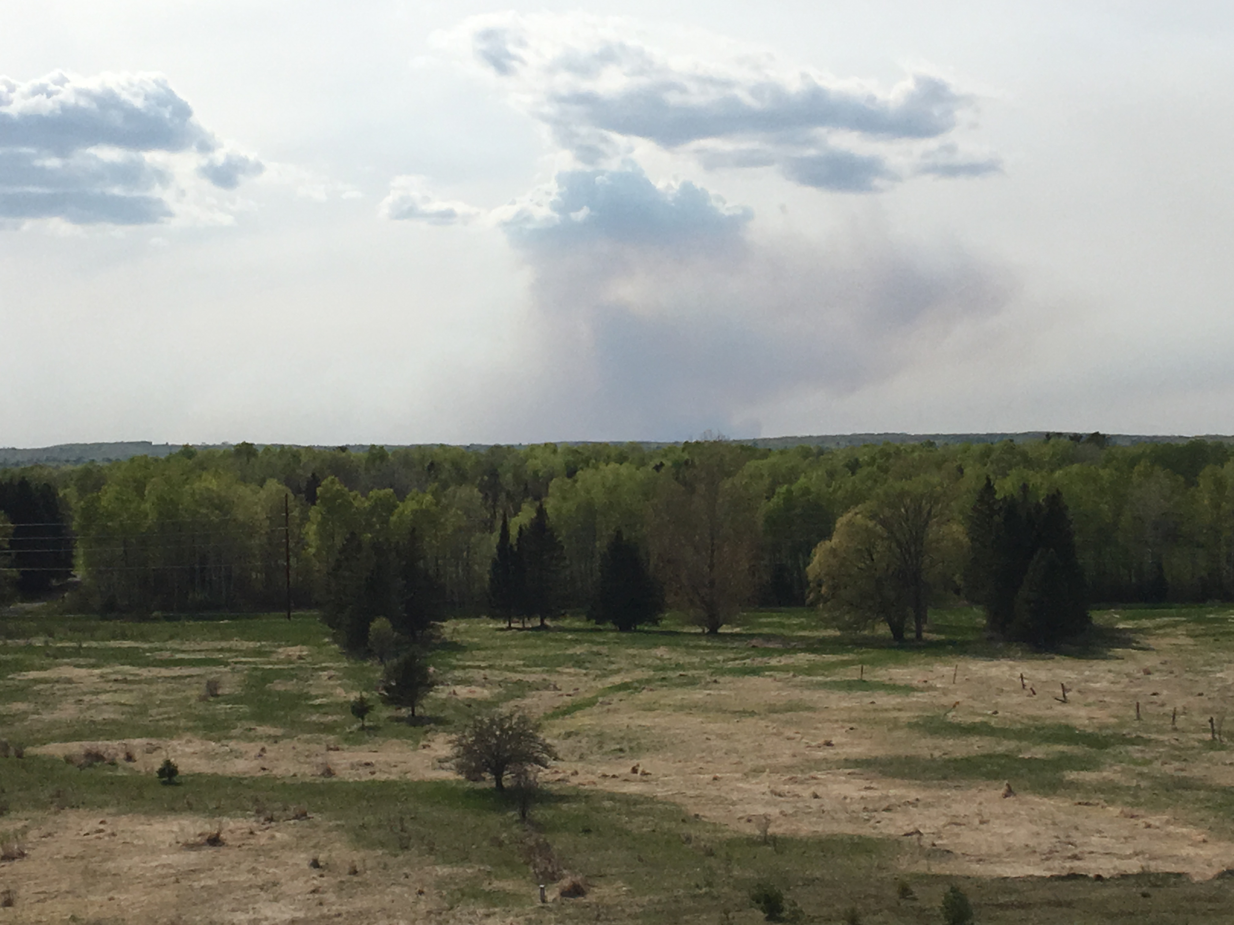 The smoke plume from a prescribe fire at Moquah Barrens can be seen from the observation tower.