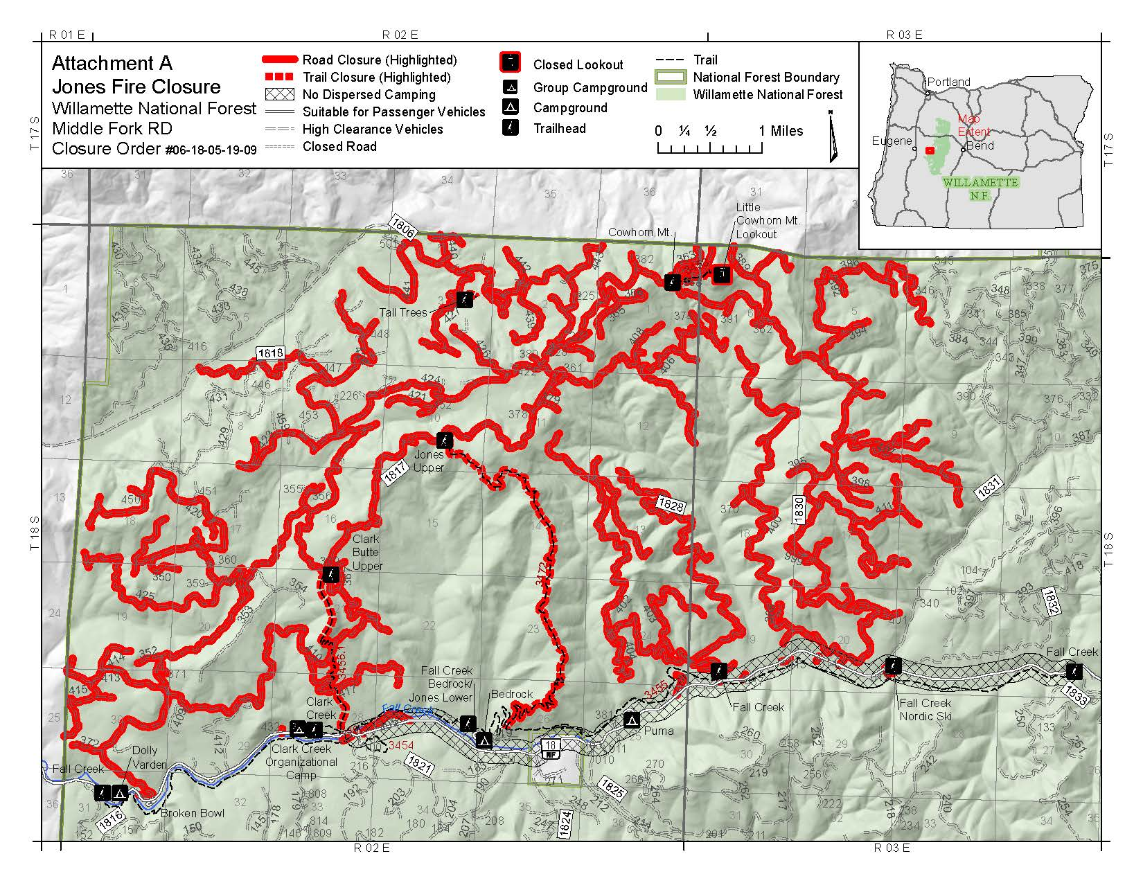 Jones Fire Closure Map