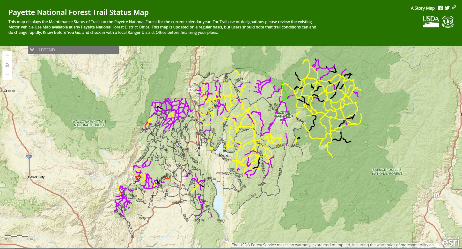 This image shows a photo of the Forest trail status map.  Click the photo to follow the link.