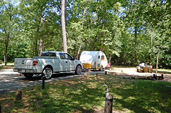 Camper at Stubblefield Campground on the Sam Houston National Forest.
