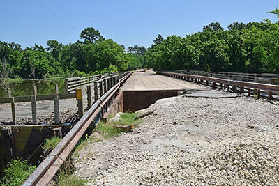 Damaged Stubblefield Bridge on the Sam Houston National Forest.