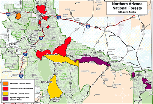 Map of 4 forests closure