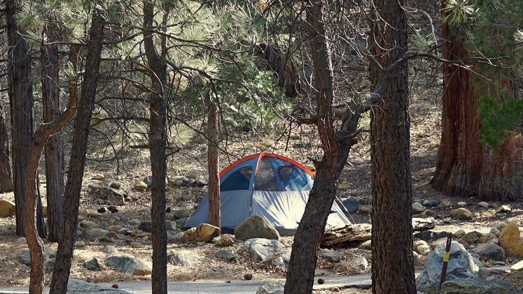 A tent setup at the South Fork Campground