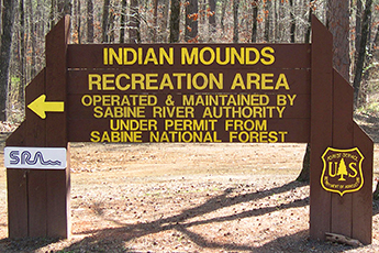 Indian Mounds Recreation Area entrance sign.