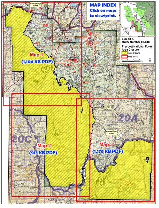 Map of partial closure area on the Bradshaw Ranger District with links to 3 detailed maps