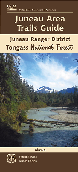 Juneau Area Trails Guide Cover with mountain in foreground and stream in foreground