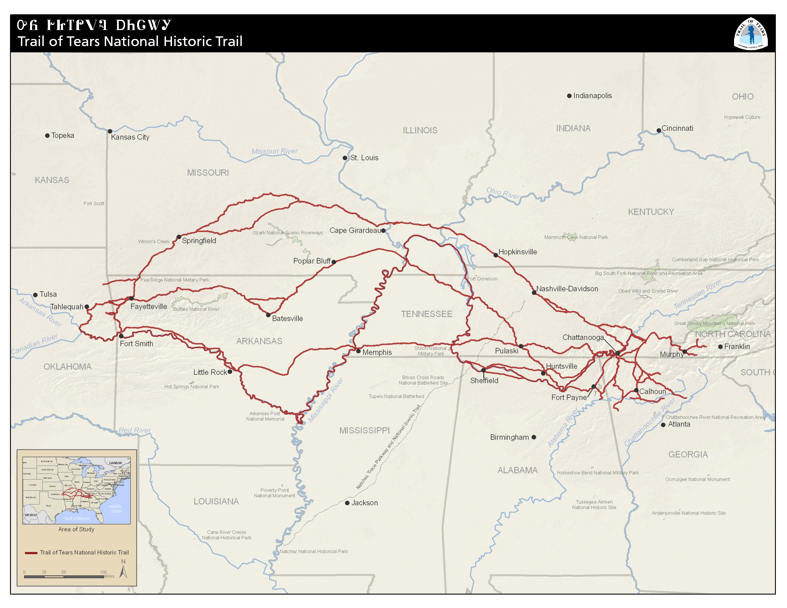 Map of the Trail of Tears - Map courtesy National Park Service