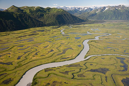 An aerial shot of the Copper River Delta.
