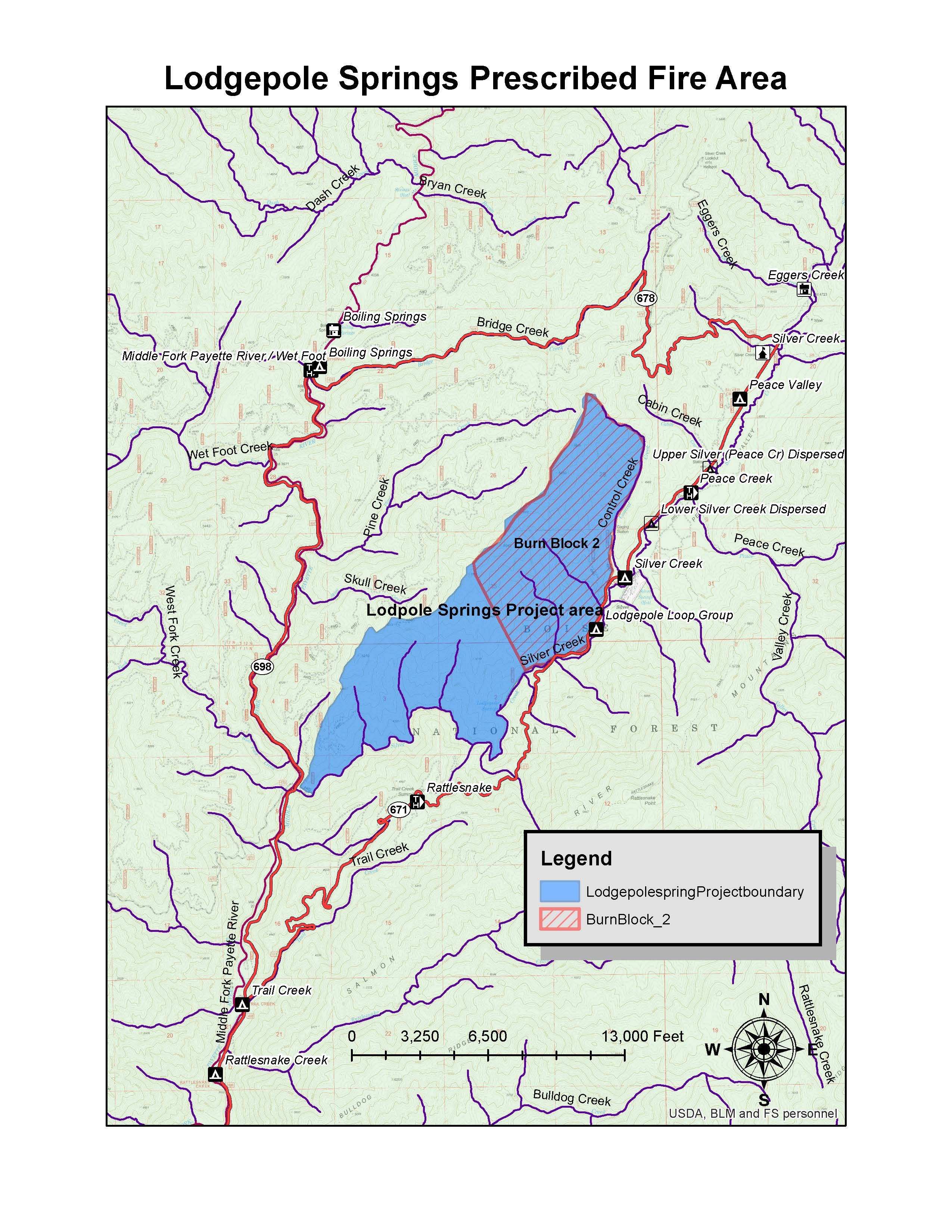 A photo of a map of a prescribed fire area