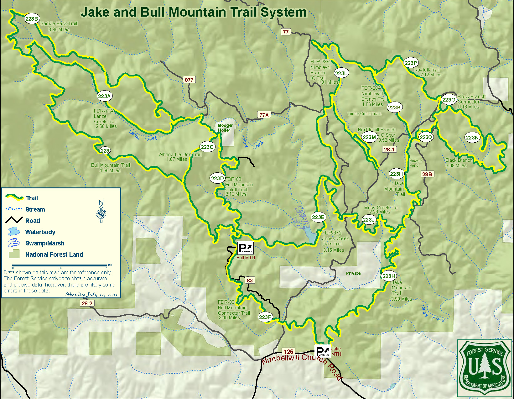 Map of Jake and Bull Mountain Trail System
