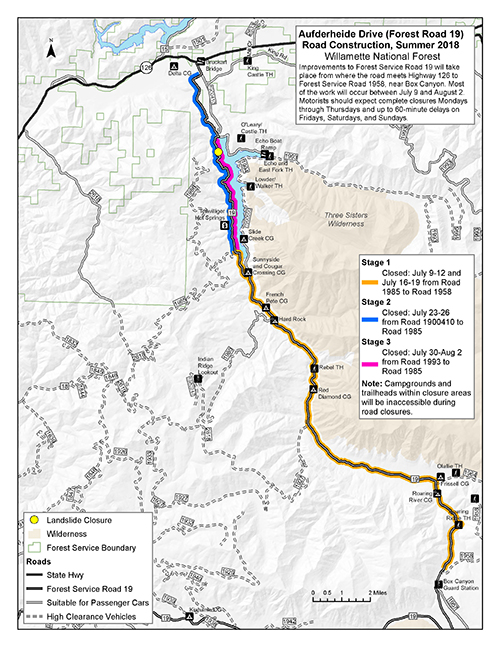 Forest Service - A map of Road 19 July 2018 Closures Stages 1-3