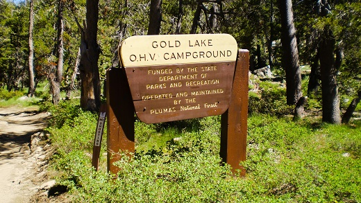 Forest Service sign of Gold Lake OHV Campground
