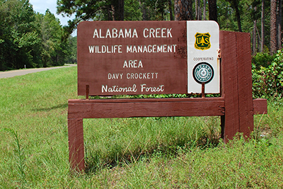 Alabama Creek WMA sign on the Davy Crockett National Forest