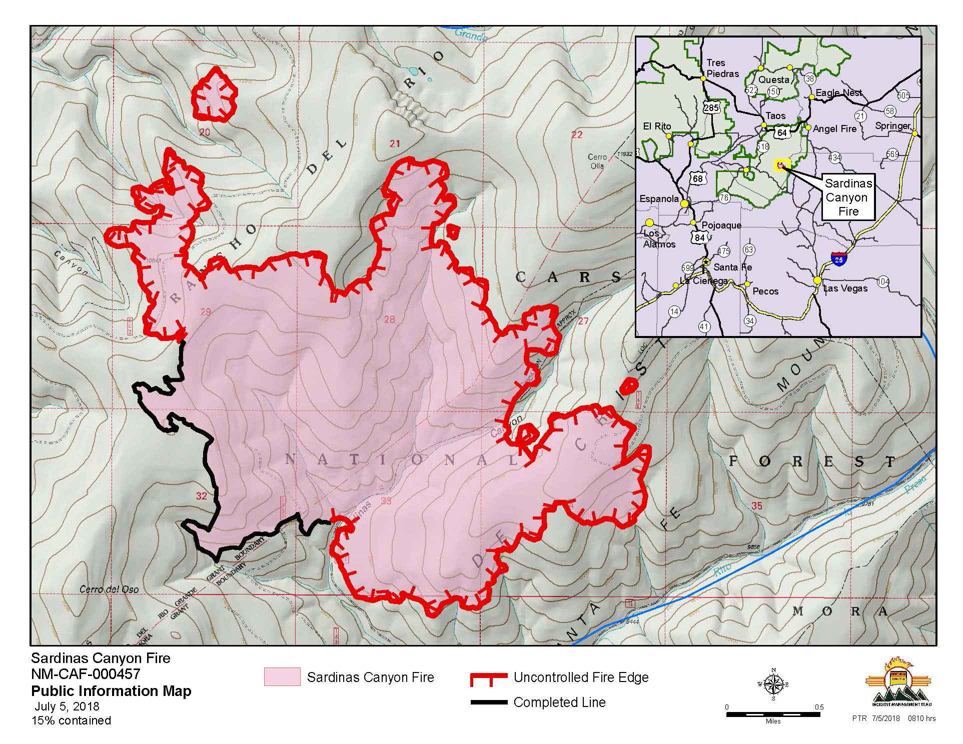 Sardinas Canyon fire map showing containment
