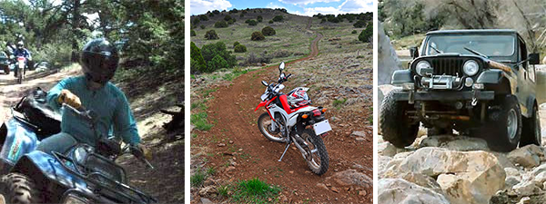 Three images, atv on left, dirtbike in middle, jeep on right