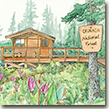 Watercolor of a Chugach cabin with fireweed blooming.