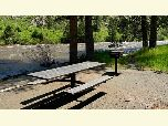 Picnic table on gravel along the Upper Poudre River.