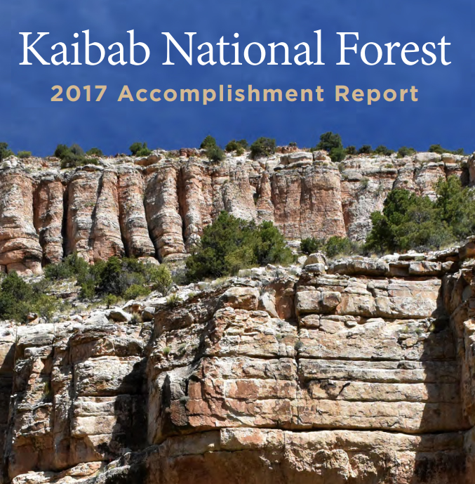 Cover of the 2017 Kaibab Accomplishments Report showing image of Snake Gulch.