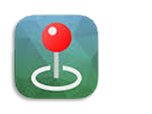 A red pin on blue and green globe-color backgound is the icon for the Avenza app.