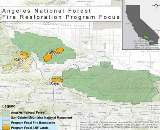 Map of the fire restoration focus areas on the Angeles National Forest.
