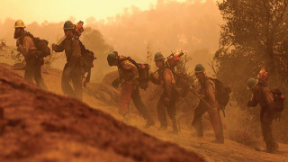 Photograph of firefighters walking up a mountain