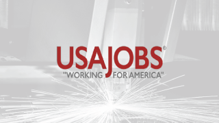 USAJobs Logo on a grey background