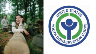 YCC Logo and photo of a young girl on a log