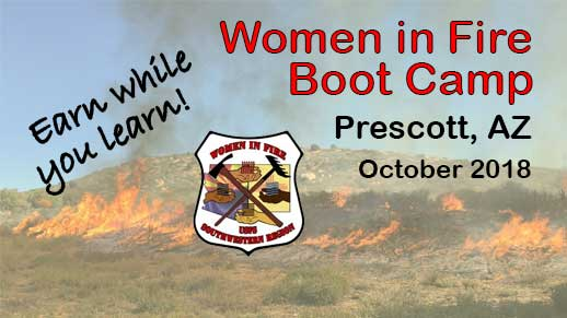 Apply by August 31 for the 2018 Women in Wildland Fire Bootcamp.