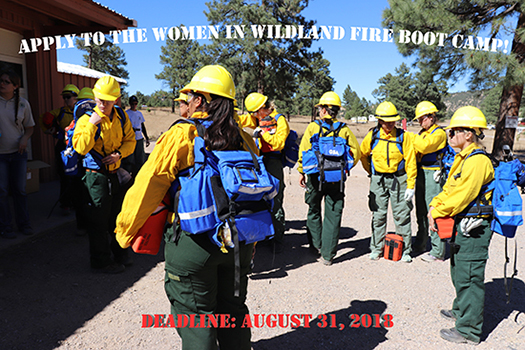 Image of a group of women attending the Women in Wildland Fire Boot Camp