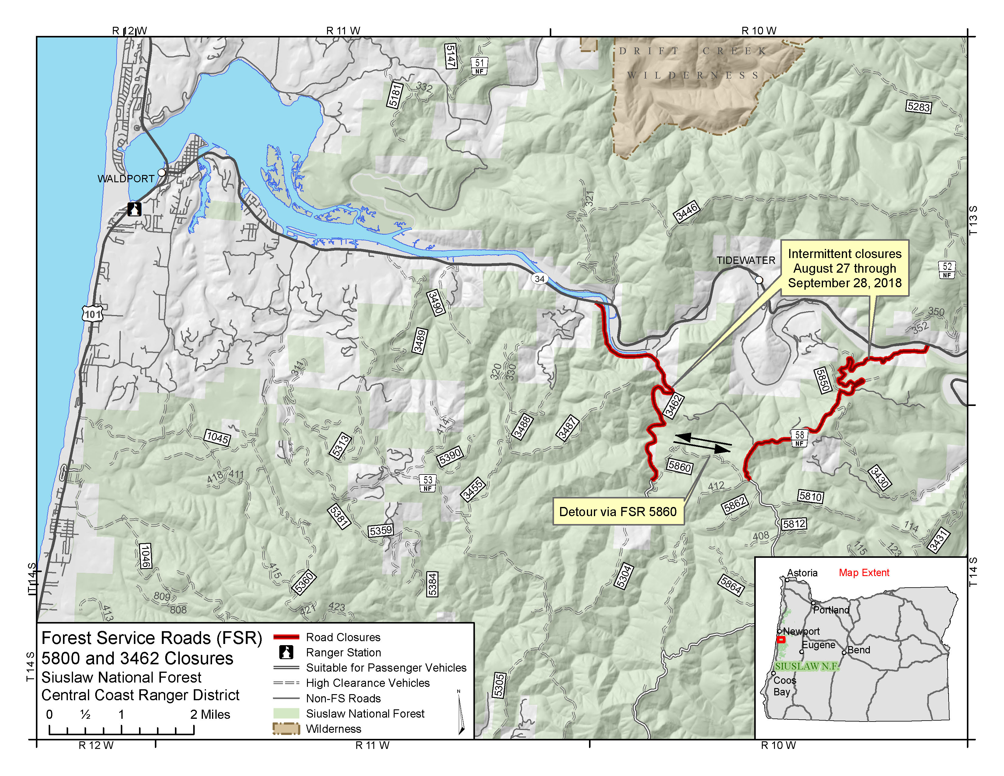 Forest Service - Forest Service Road 5800 Road Work Map