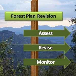 forest Plan Revision at top of wooden sign with arrow signs pointing right: Assess, Revise, Monitor