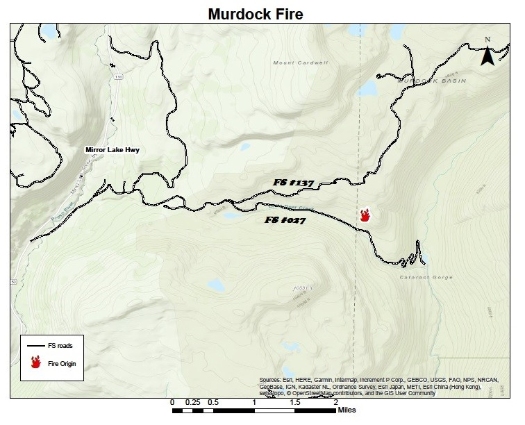 Map showing the Location of the Murdock Fire Heber-Kamas Ranger District