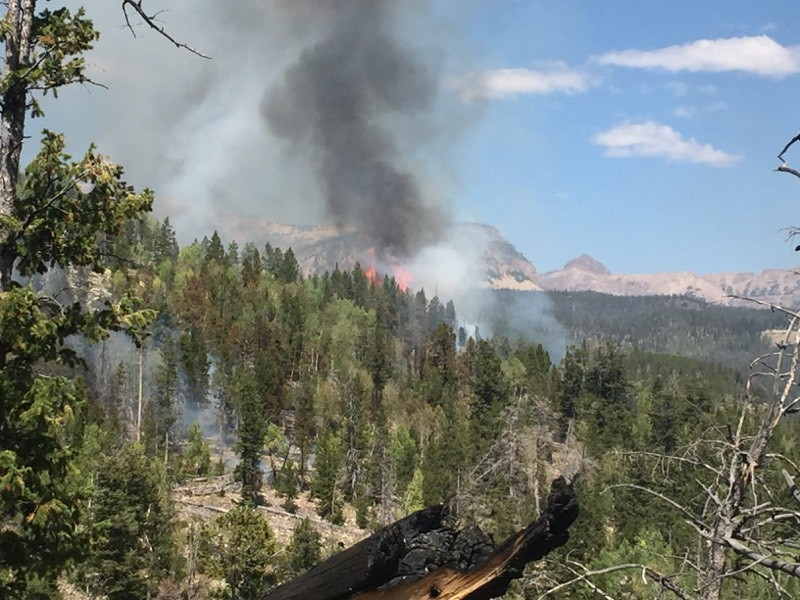 Photo showing fire activity on the Murdock Fire September 3, 2018