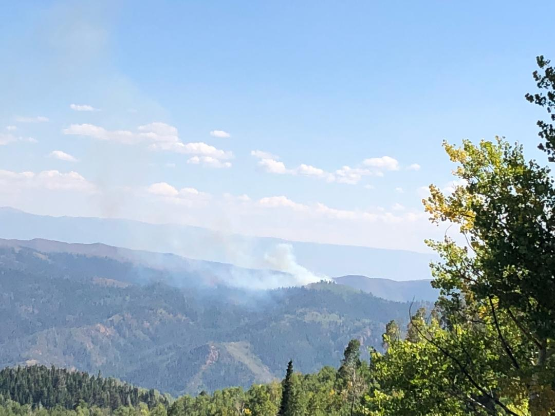 Photo showing smoke from the Pole Creek Fire September 9, 2018