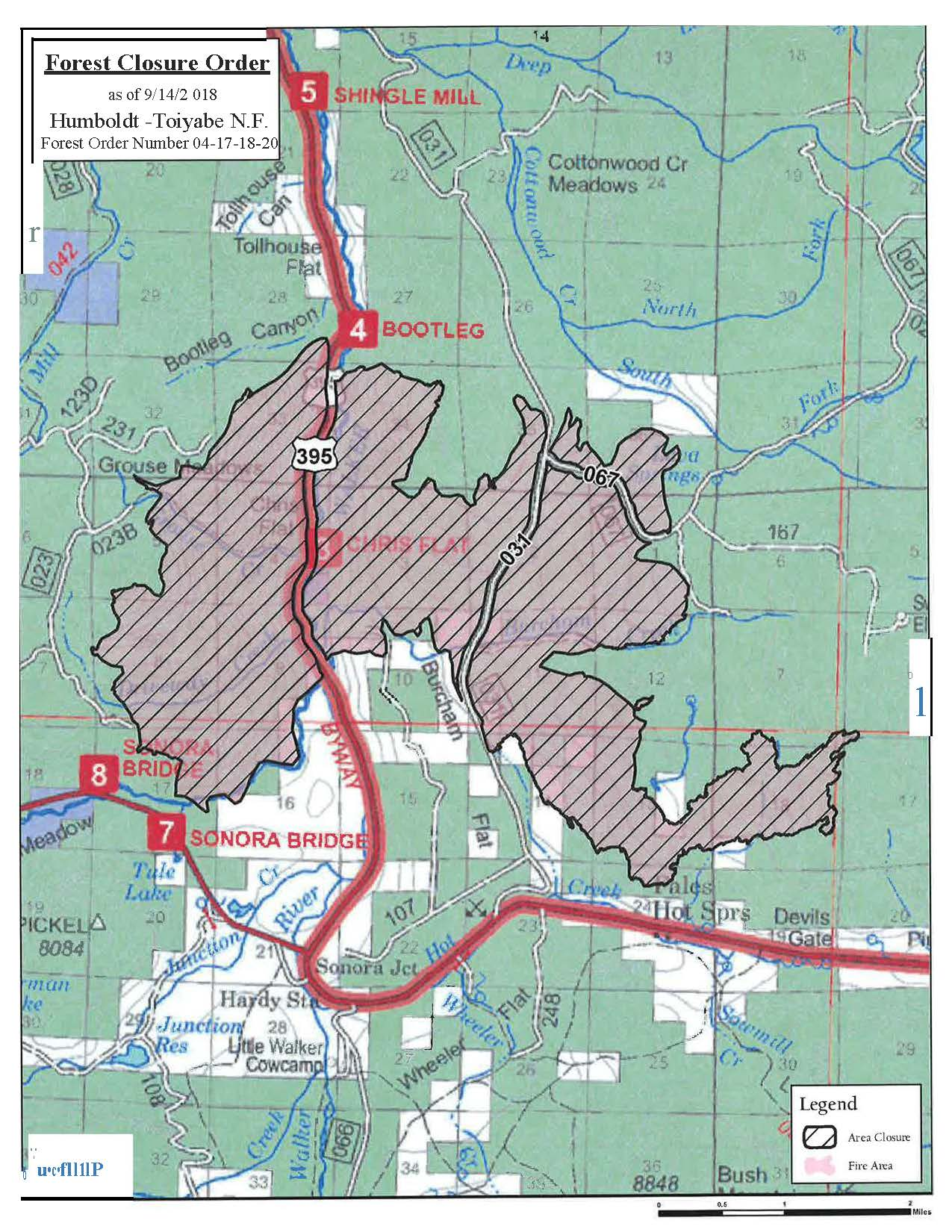 Boot Fire Area Closure Map