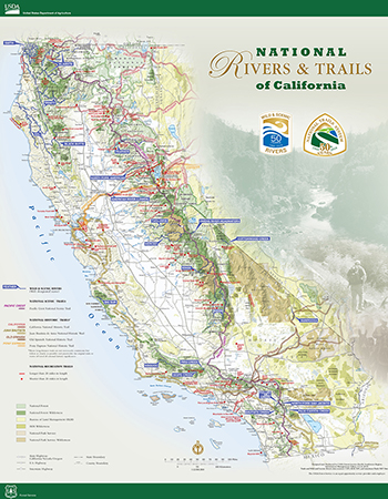 Map of California's Wild and Scenic Rivers and Trails.
