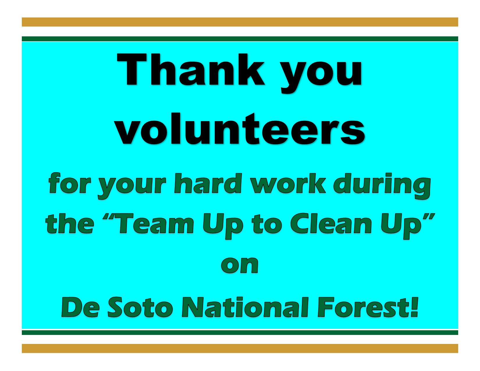 sign saying: De Soto thanks volunteers for team up to cleanup