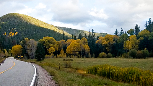 Highway on left side of picture with mountains and meadows of trees in their fall color splendor