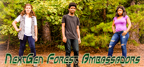Three teens in the forest, text reads NextGen Forest Ambassadors