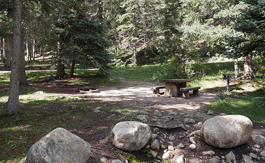 Campsite with large boulders in front of picnic table and fire ring beneath the evergreen trees
