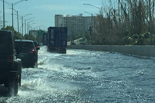 A picture of a road flooding