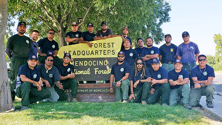 Firefighters from Saipan pose for the camera in front of Mendocino NF headquarters.