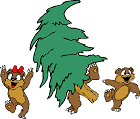 cartoon chipmunks with cut tree