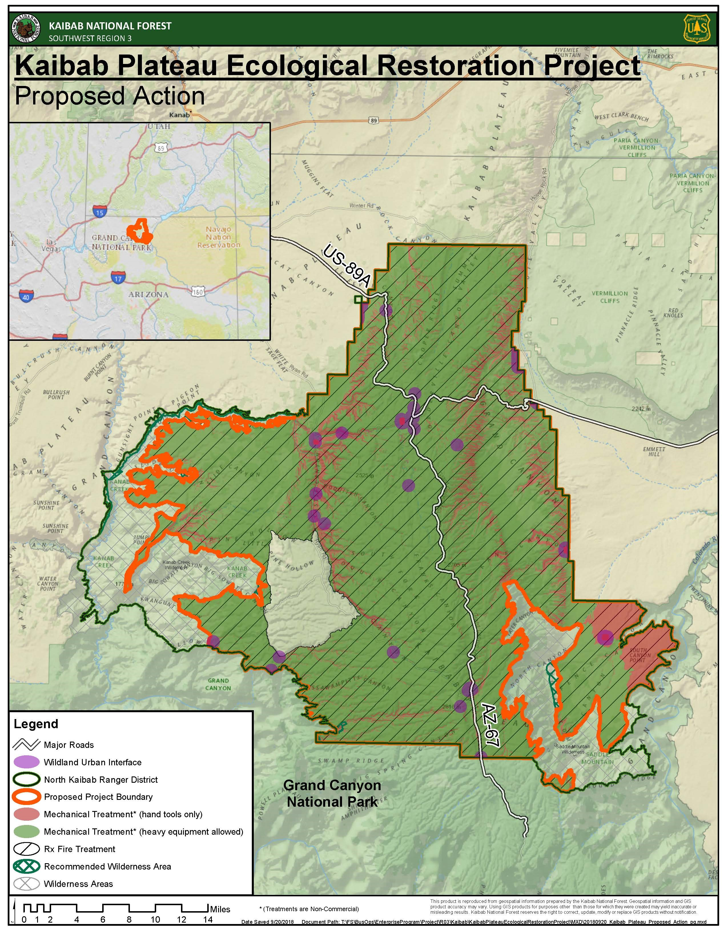 Kaibab Plateau Ecological Restoration Project Map