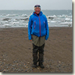 Bridget Lyons on the beach at the Arctic National Wildlife Refuge.
