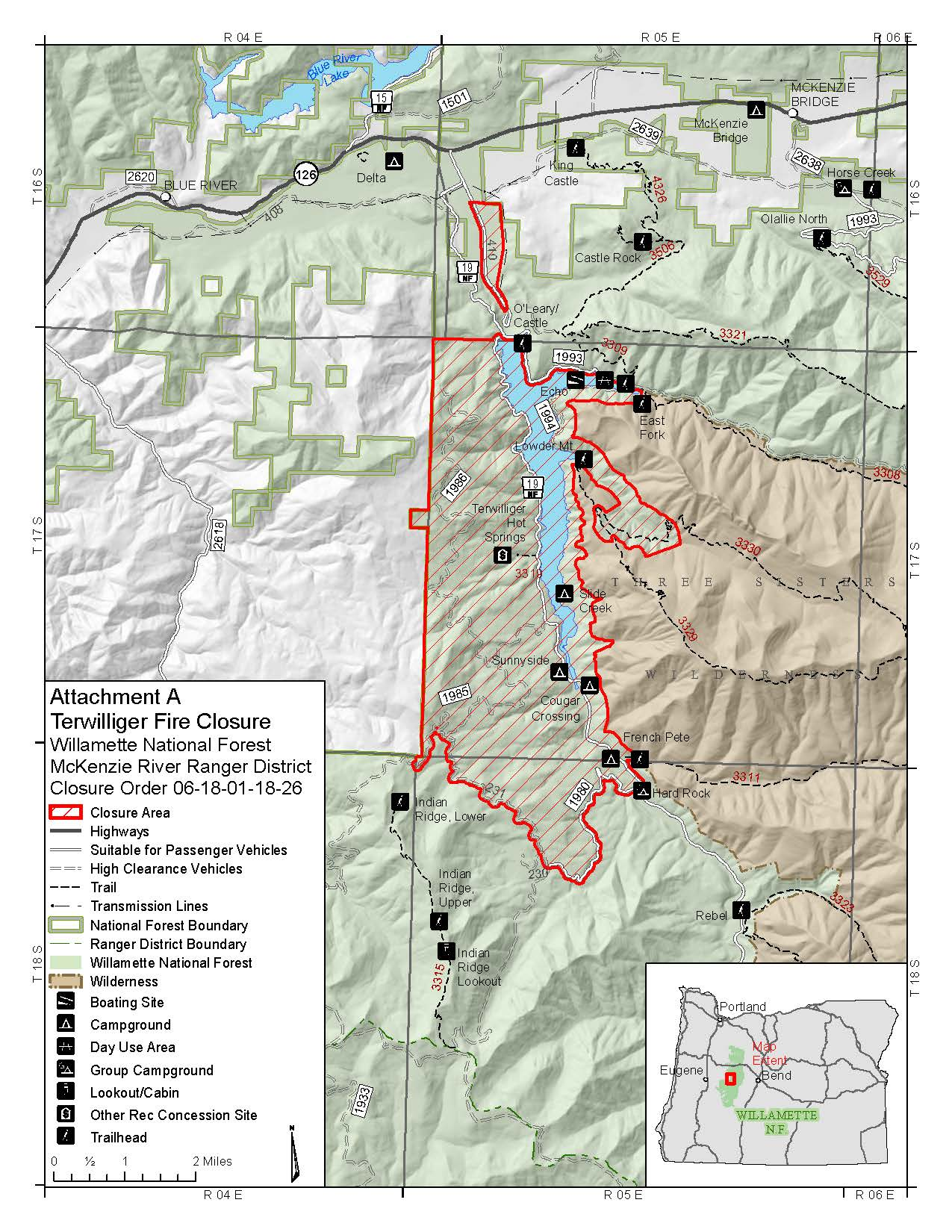 Lowell Oregon Map.Willamette National Forest Fire Management