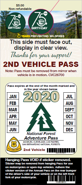 2019 - Second Vehicile Annual Adventure Pass